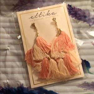 "NWT!! Ettika ""Time to Tassel"" pink&gold earrings"